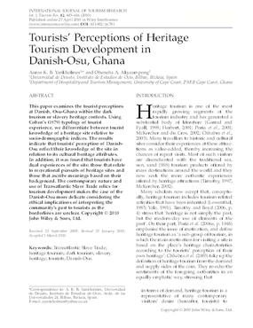 Tourists' Perceptions of Heritage Tourism Development in Danish-osu, Ghana