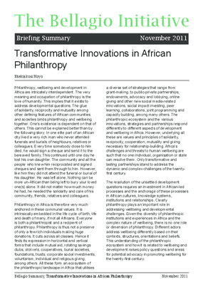 Transformative Innovations in African Philanthropy, Briefing Summary