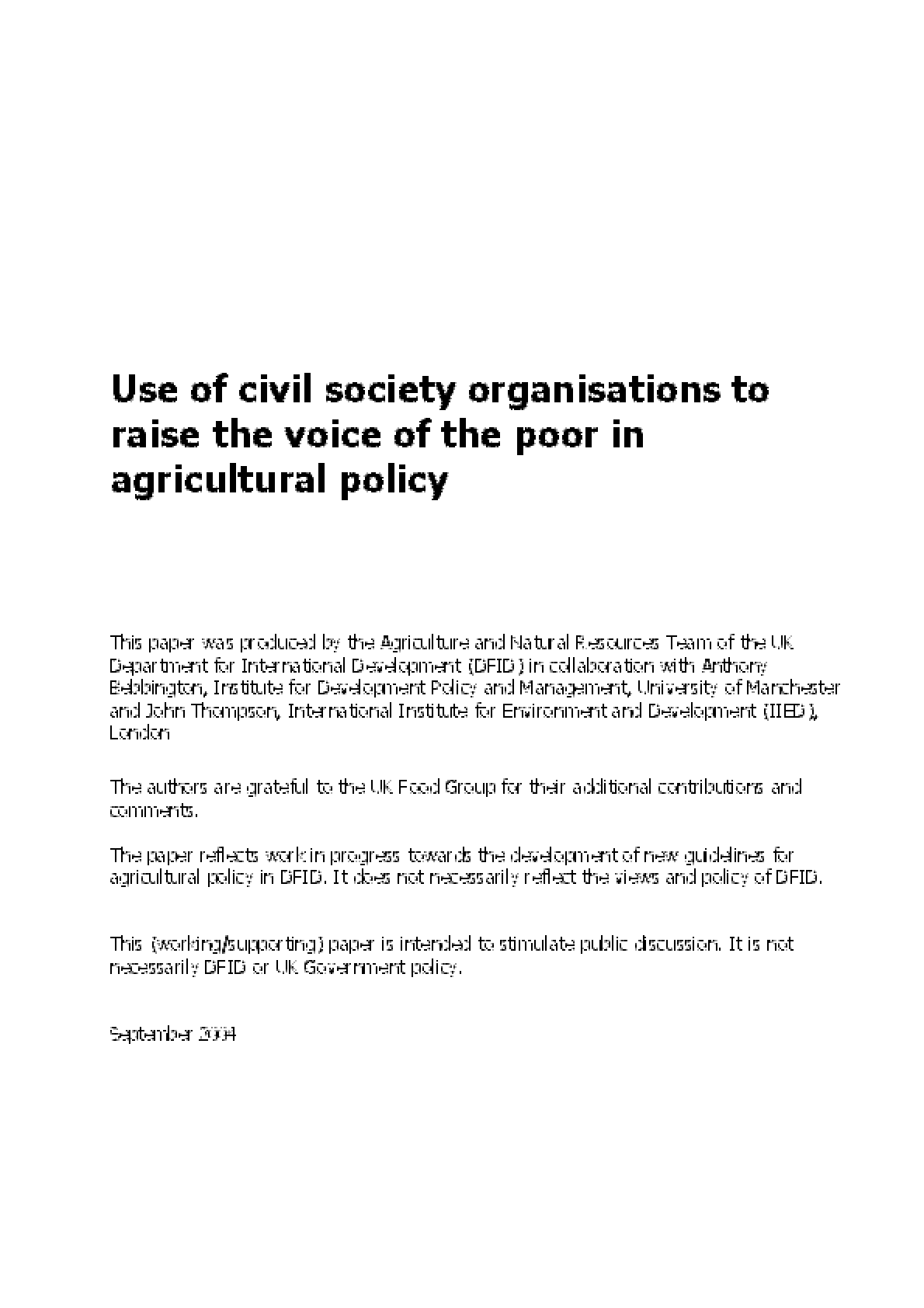 Use of Civil Society Organisations to Raise the Voice of the Poor in Agricultural Policy
