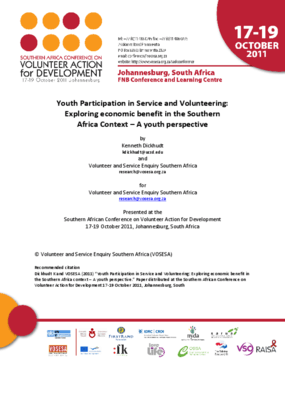 Youth Participation in Service and Volunteering: Exploring Economic Benefit in the Southern Africa Context, a Youth Perspective