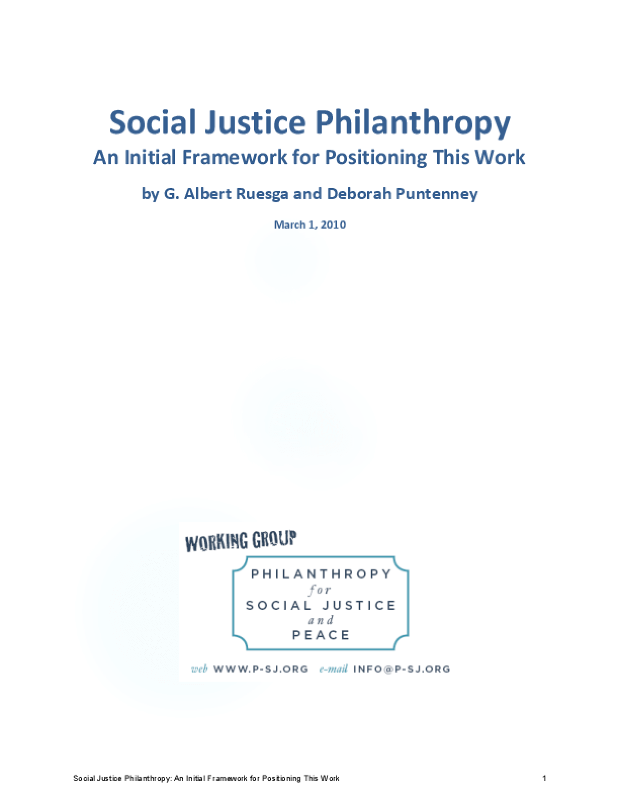 Social Justice Philanthropy: An Initial Framework for Positioning This Work