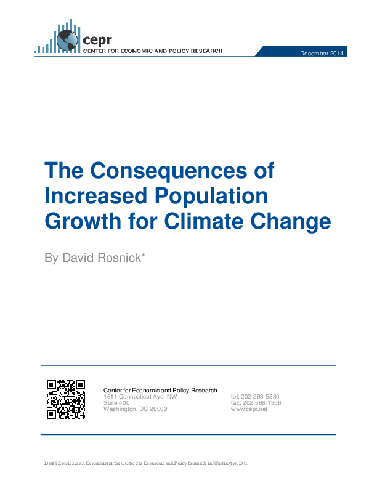 The Consequences of Increased Population Growth for Climate Change