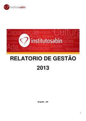 Relatório de gestão 2013 - Instituto Sabin