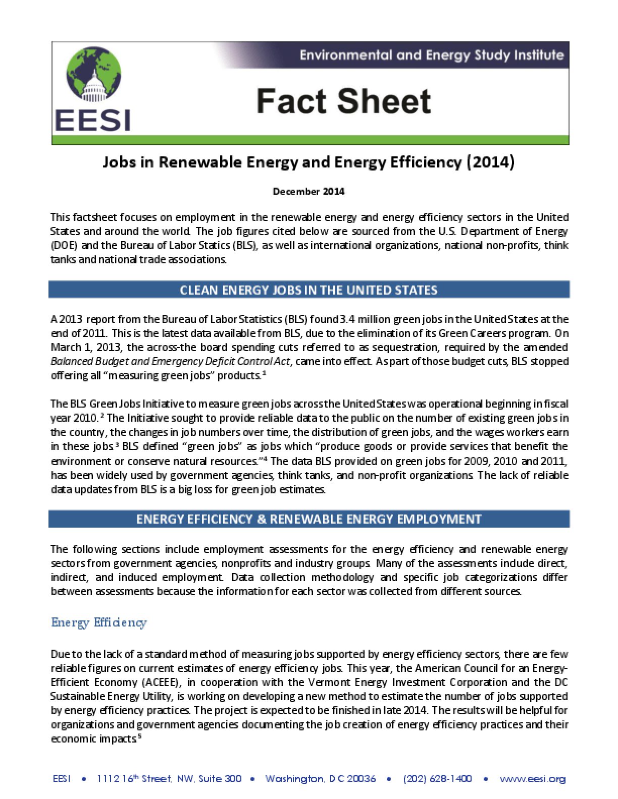 Fact Sheet: Jobs in Renewable Energy and Energy Efficiency (2014)