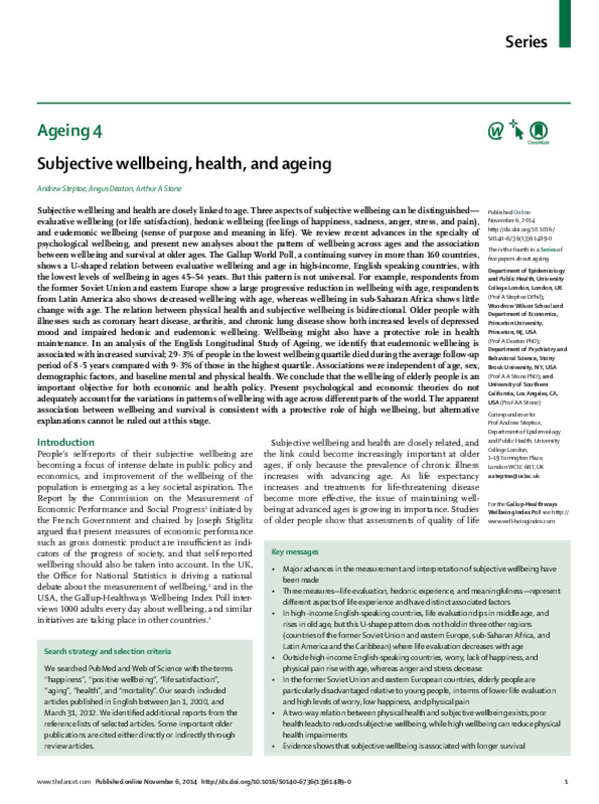 Subjective Wellbeing, Health and Ageing