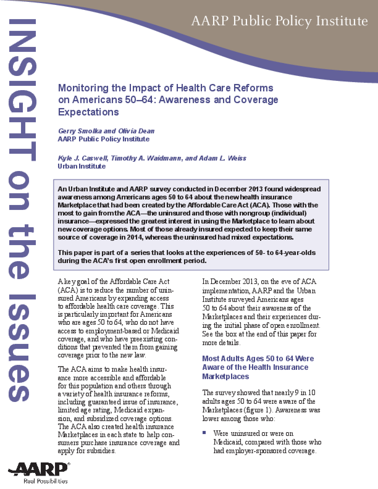 Monitoring the Impact of Health Care Reforms on Americans 50-64: Awareness and Coverage Expectations
