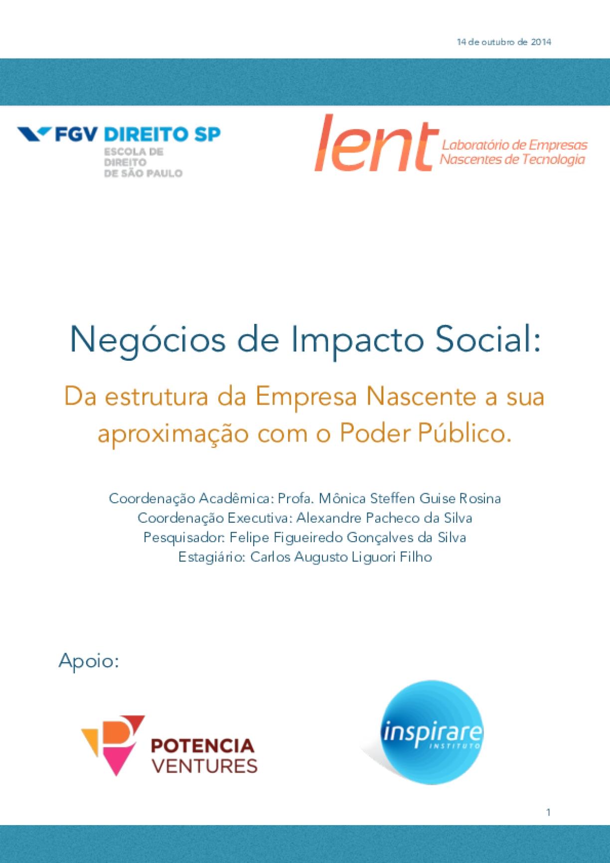 Negócios de impacto social: da estrutura da empresa Nascente a sua aproximação com o poder público