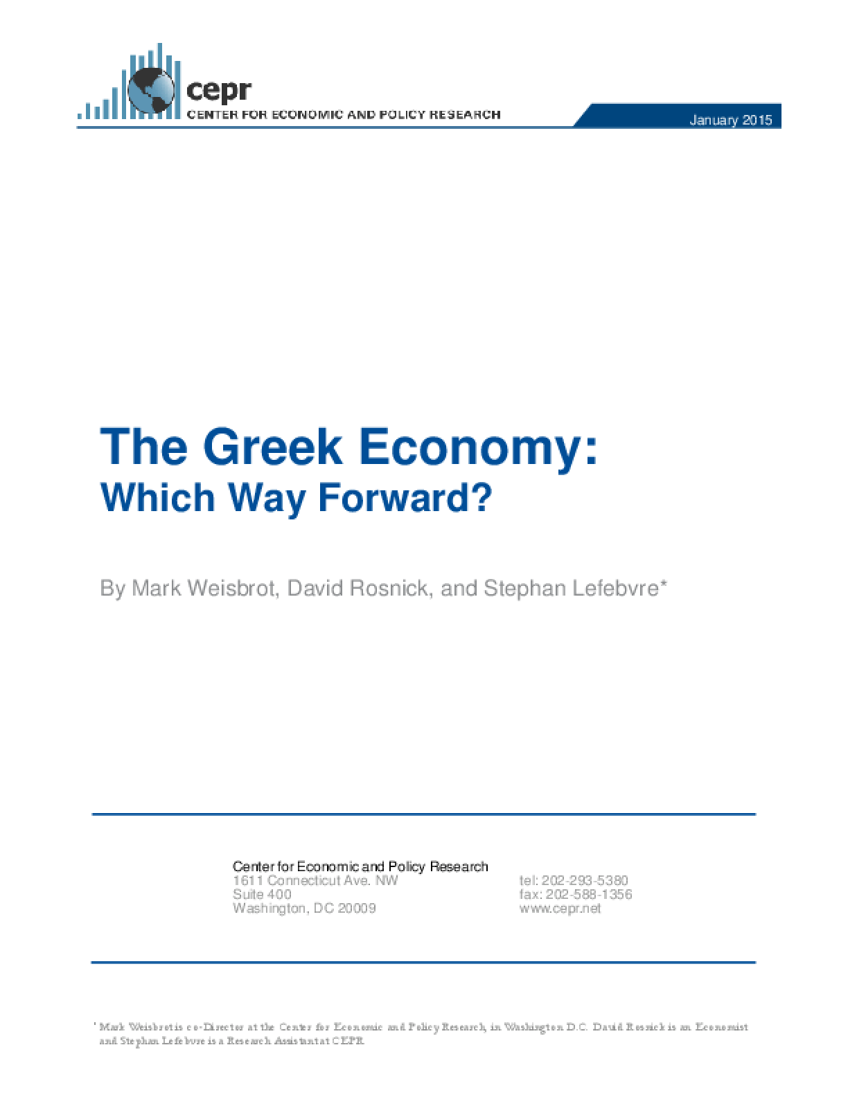 The Greek Economy: Which Way Forward?