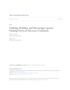 Defining Building and Measuring Capacity Findings from an Advocacy Evaluation