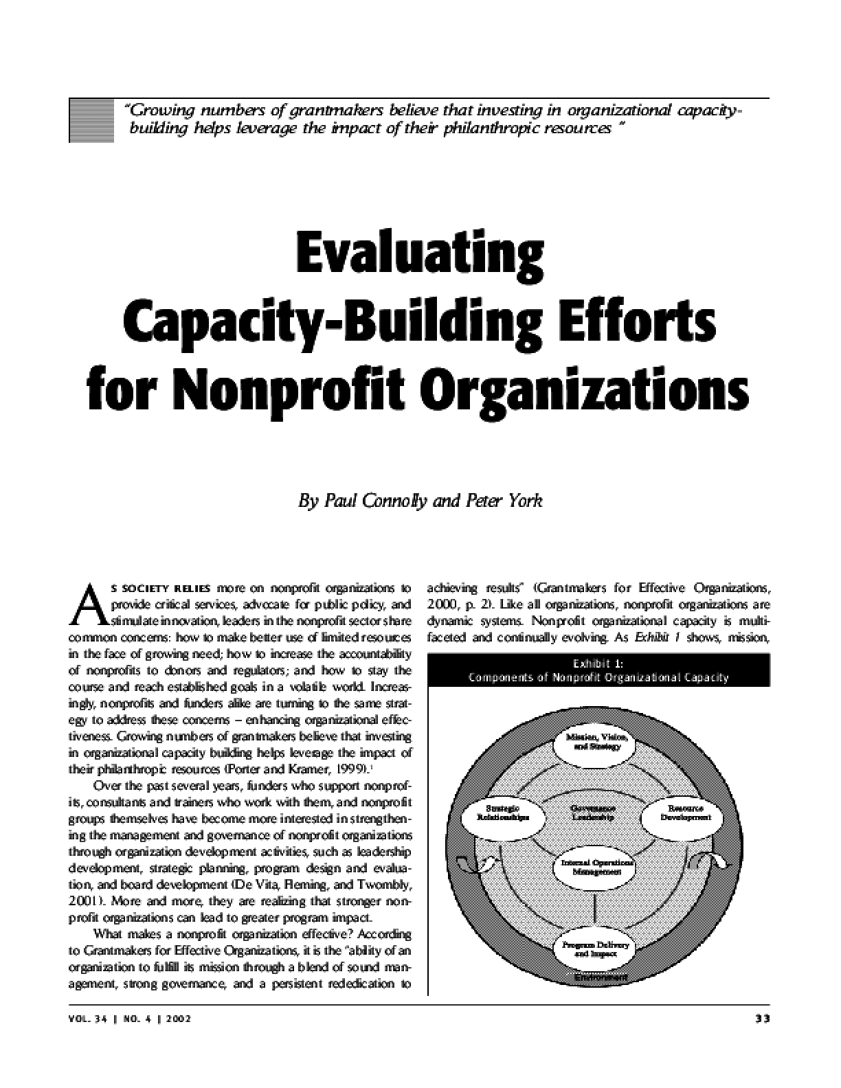 Evaluating Capacity-Building Efforts for Nonprofit Organizations