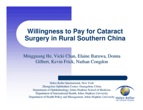Willingness to Pay for Cataract Surgery in Rural Southern China