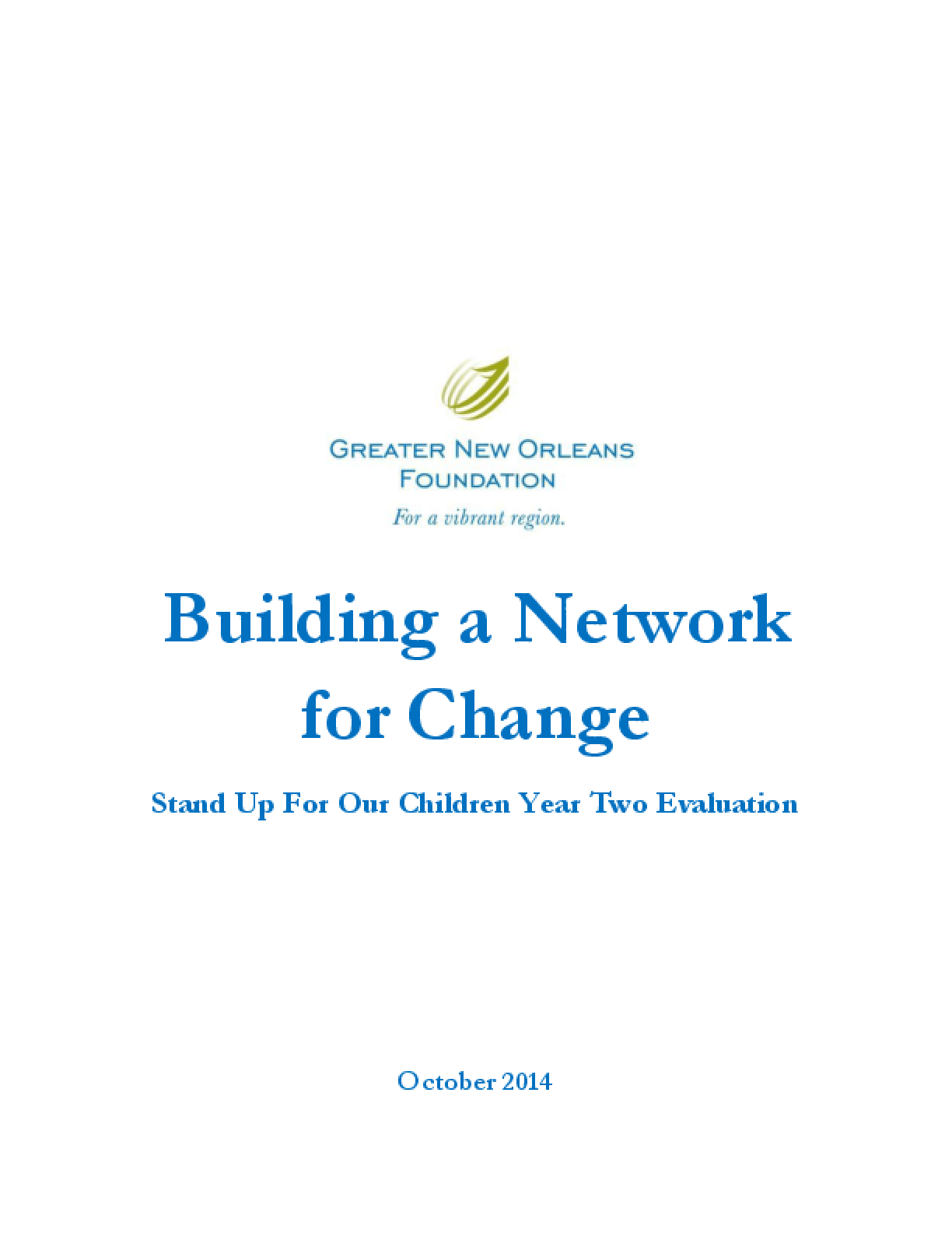 Building a Network for Change: Stand Up For Our Children Year Two Evaluation