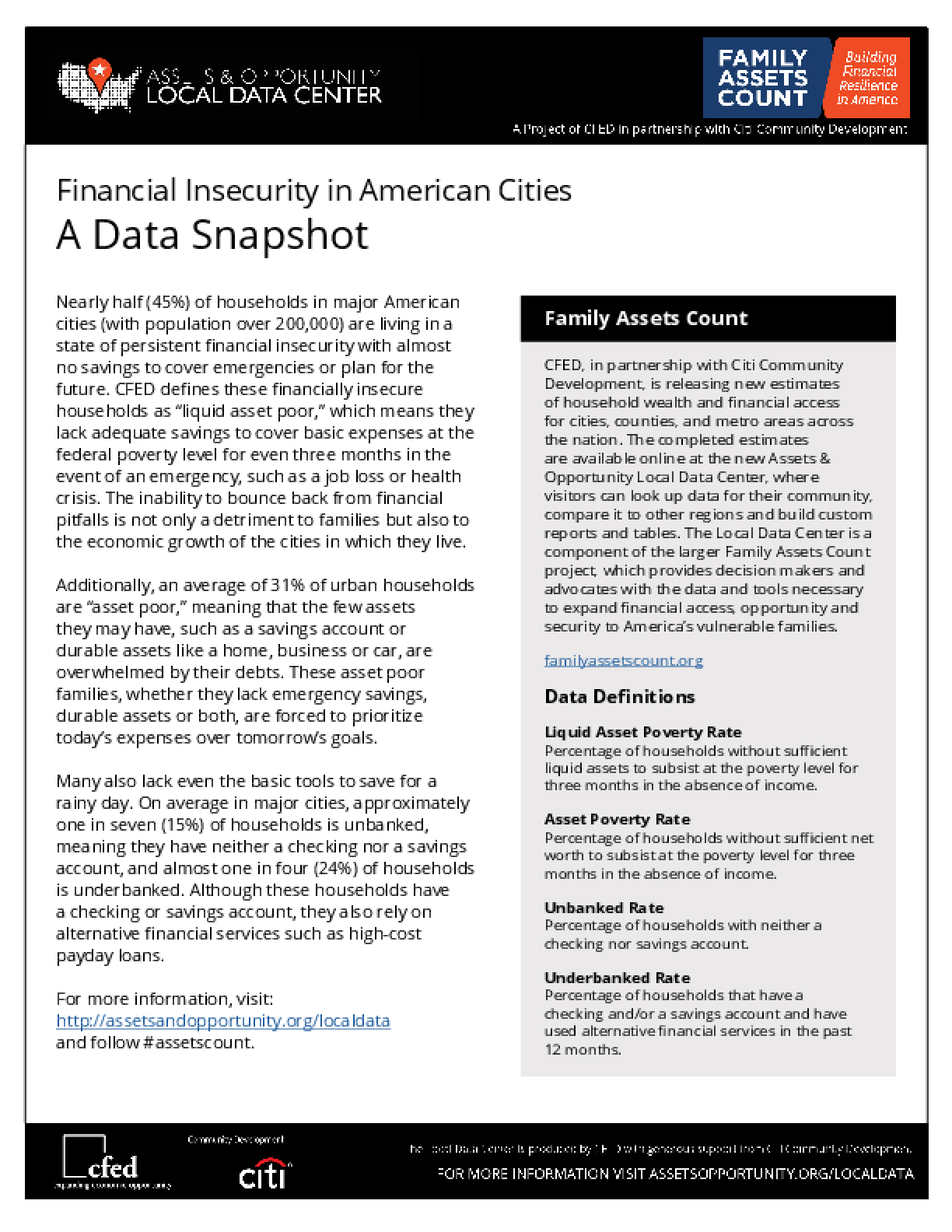 Financial Insecurity in American Cities: A Data Snapshot