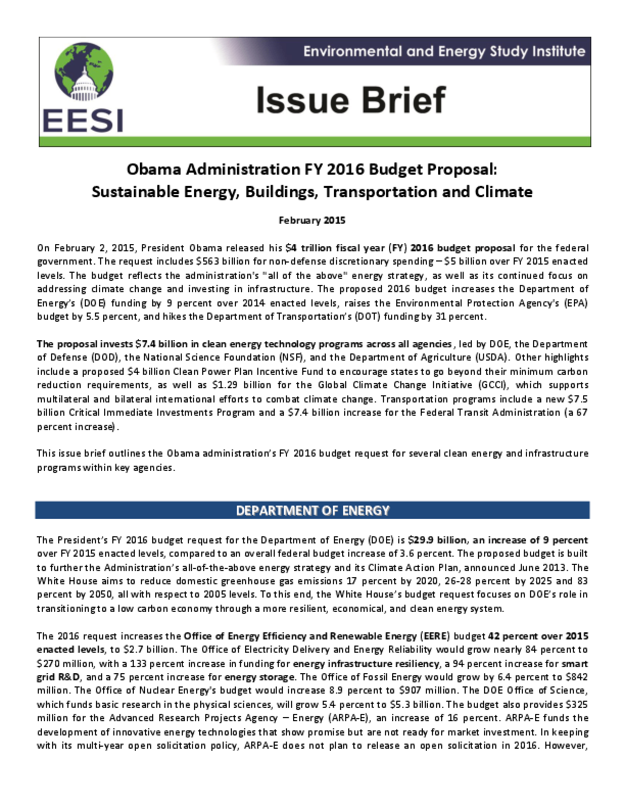 Issue Brief: Obama FY2016 Budget Proposal: Sustainable Energy, Buildings, Transportation and Climate