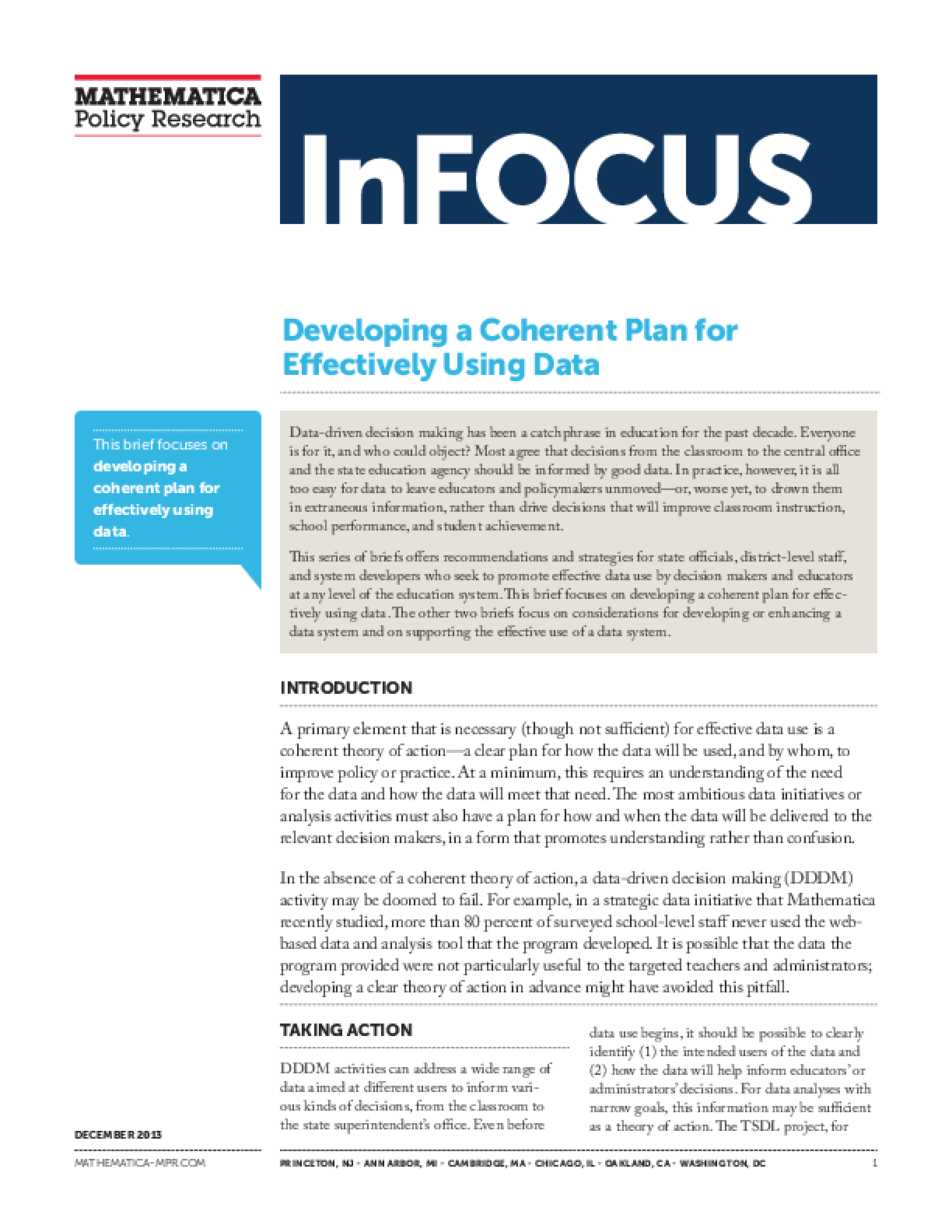 Developing a Coherent Plan for Effectively Using Data