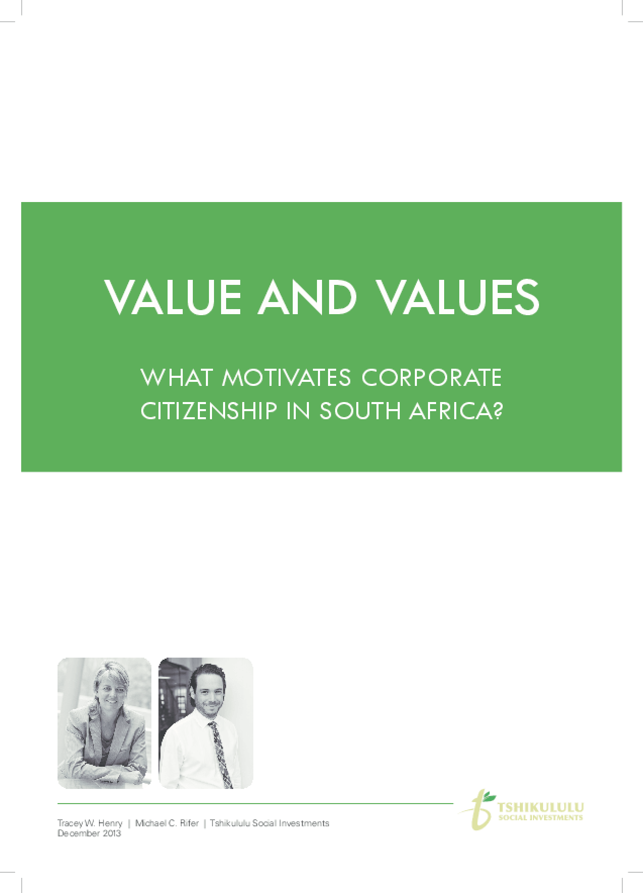 Value and Values: What Motivates Corporate Citizenship in South Africa