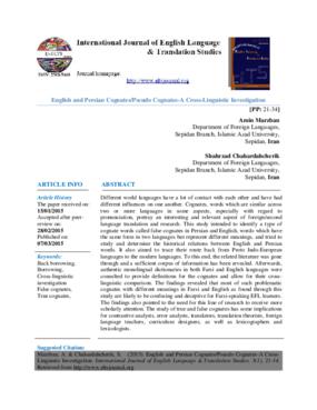 English and Persian Cognates/Pseudo Cognates-A Cross-Linguistic Investigation