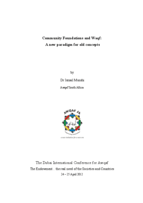 Community Foundations and Waqf: A new paradigm for old concepts