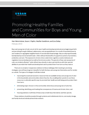 Promoting Healthy Families and Communities for Boys and Young Men of Color