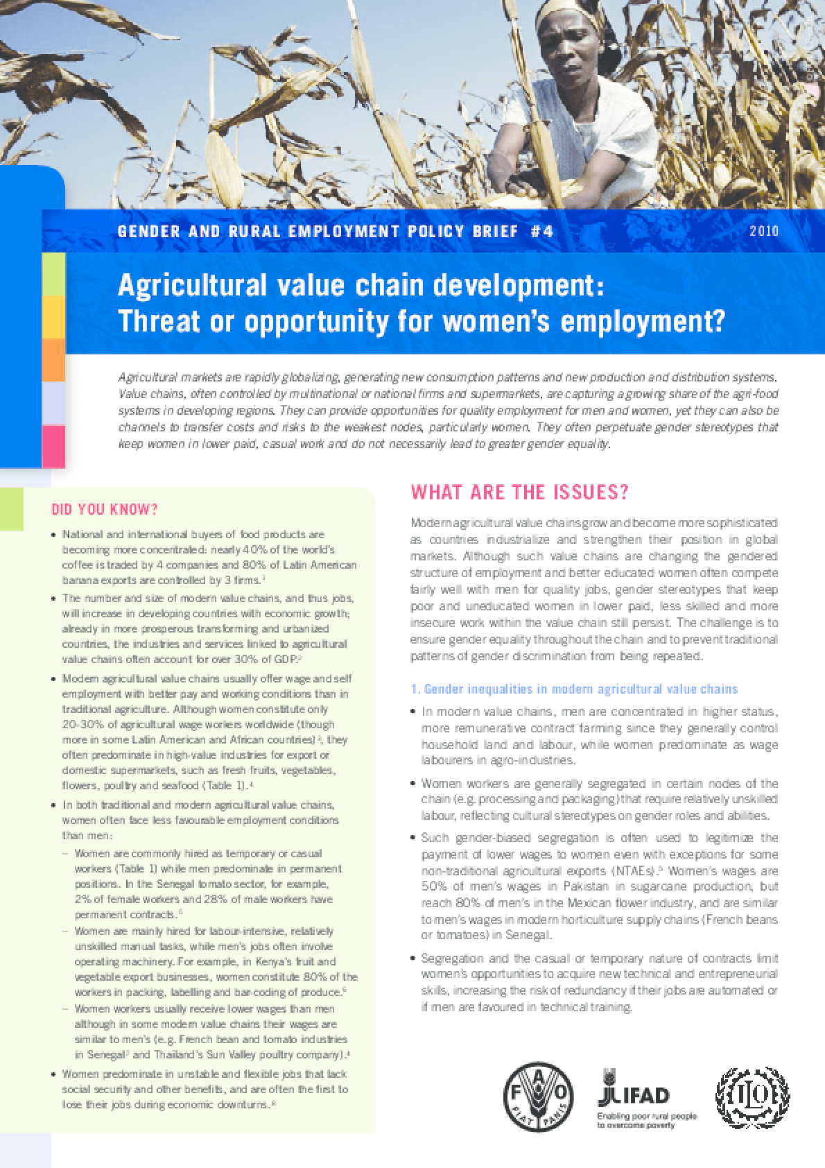 Agricultural Value Chain Development: Threat or Opportunity for Women's Employment?