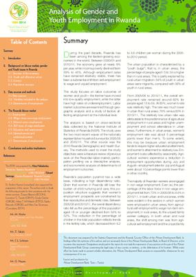 Analysis of Gender and Youth Employment in Rwanda