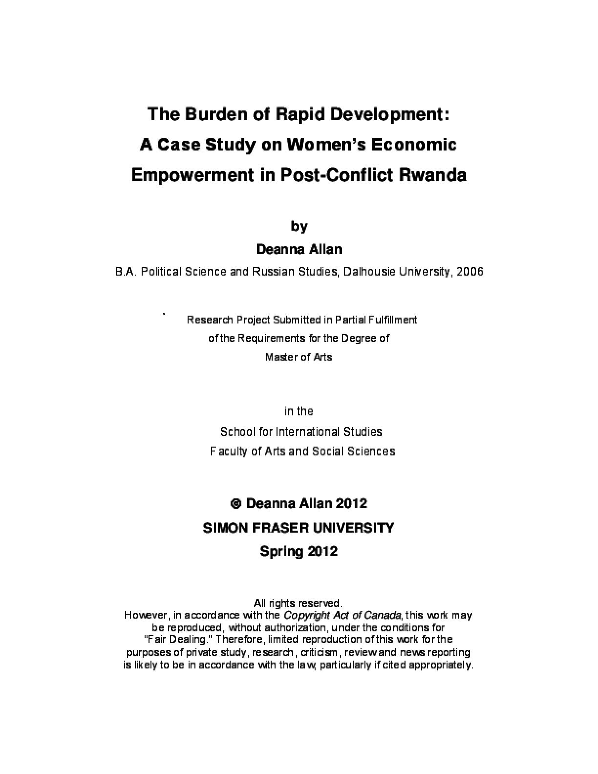 The Burden of Rapid Development: A Case Study of Women's Economic Empowerment in Post-Conflict Rwanda