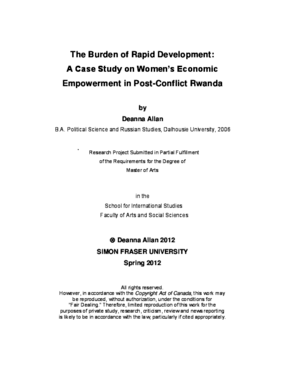 The Burden of Rapid Development: A Case Study of Women's Economic Empowerment in Post-Conflict Rwanda