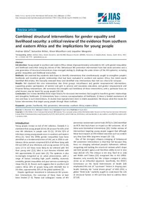Combined Structural Interventions for Gender Equality and Livelihood Security: A Critical Review of the Evidence from Southern and Eastern Africa and the Implications for Young People