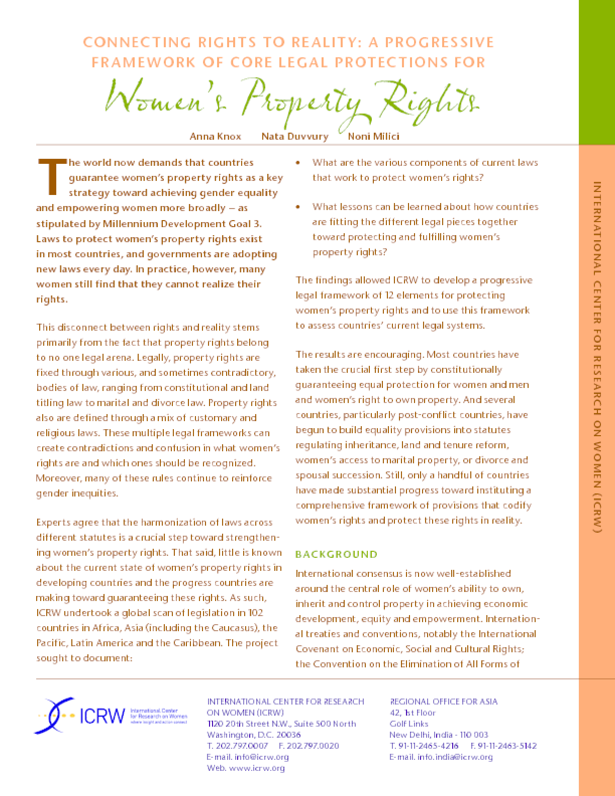 Connecting Rights to Reality: A Progressive Framework of Core Legal Protections for Women's Property Rights