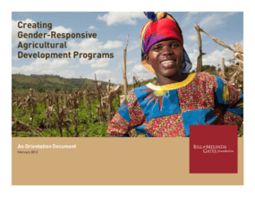 Creating Gender-Responsive Agricultural Development Programs