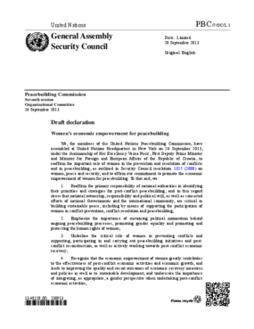 Draft Declaration: Women's Economic Empowerment for Peacebuilding