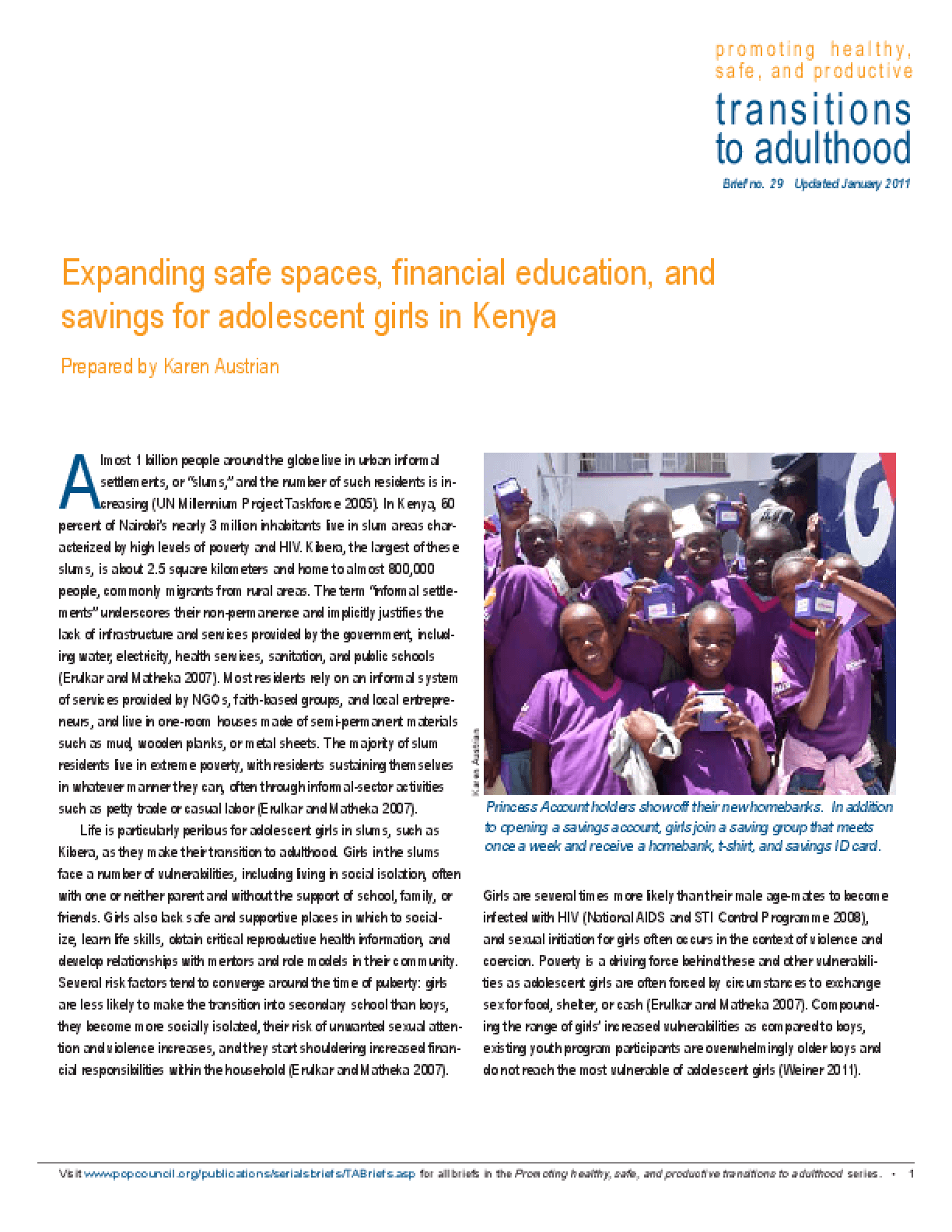 Expanding Safe Spaces, Financial Education, and Savings for Adolescent Girls in Kenya