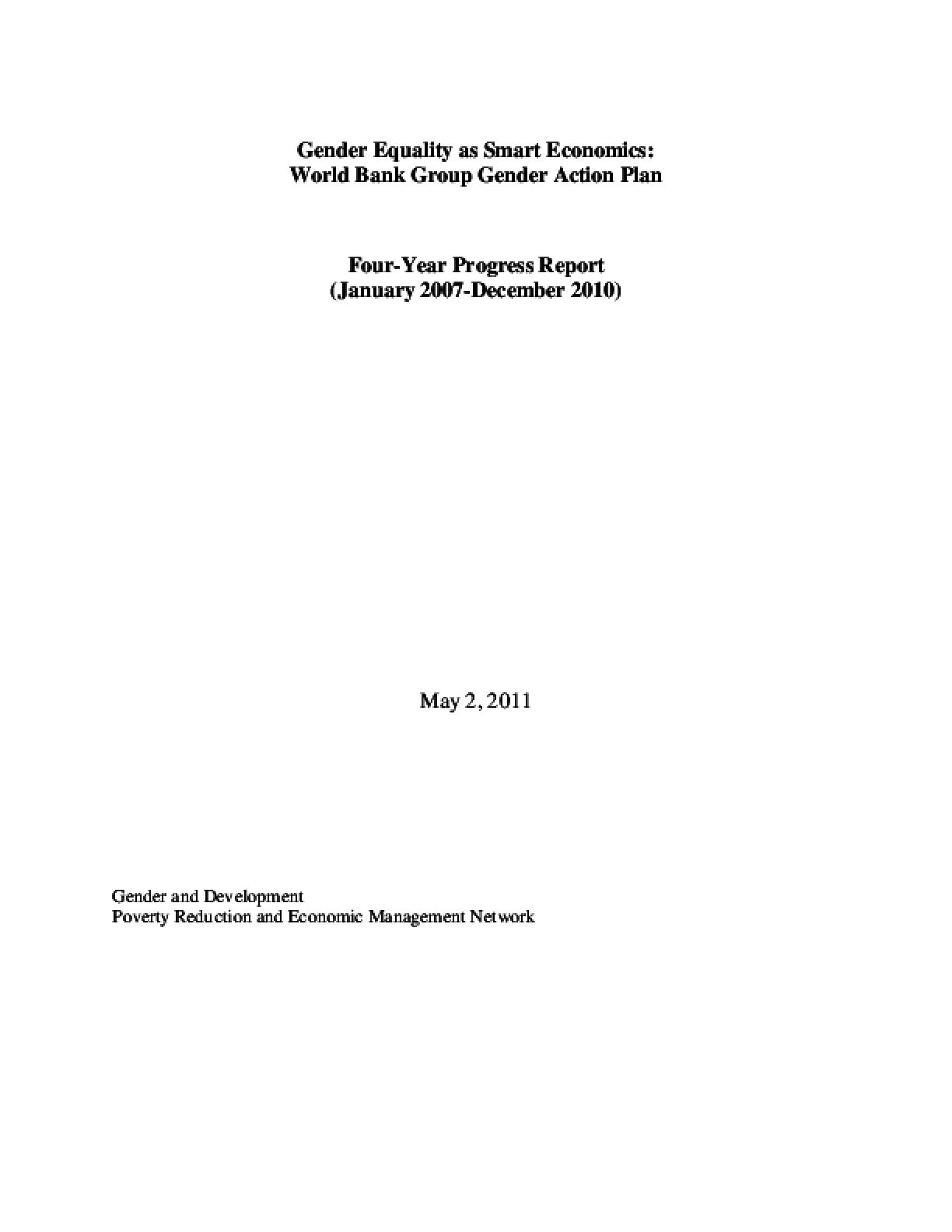 Gender Equality as Smart Economics: World Bank Group Gender Action Plan Four-Year Progress Report (January 2007-December 2010)
