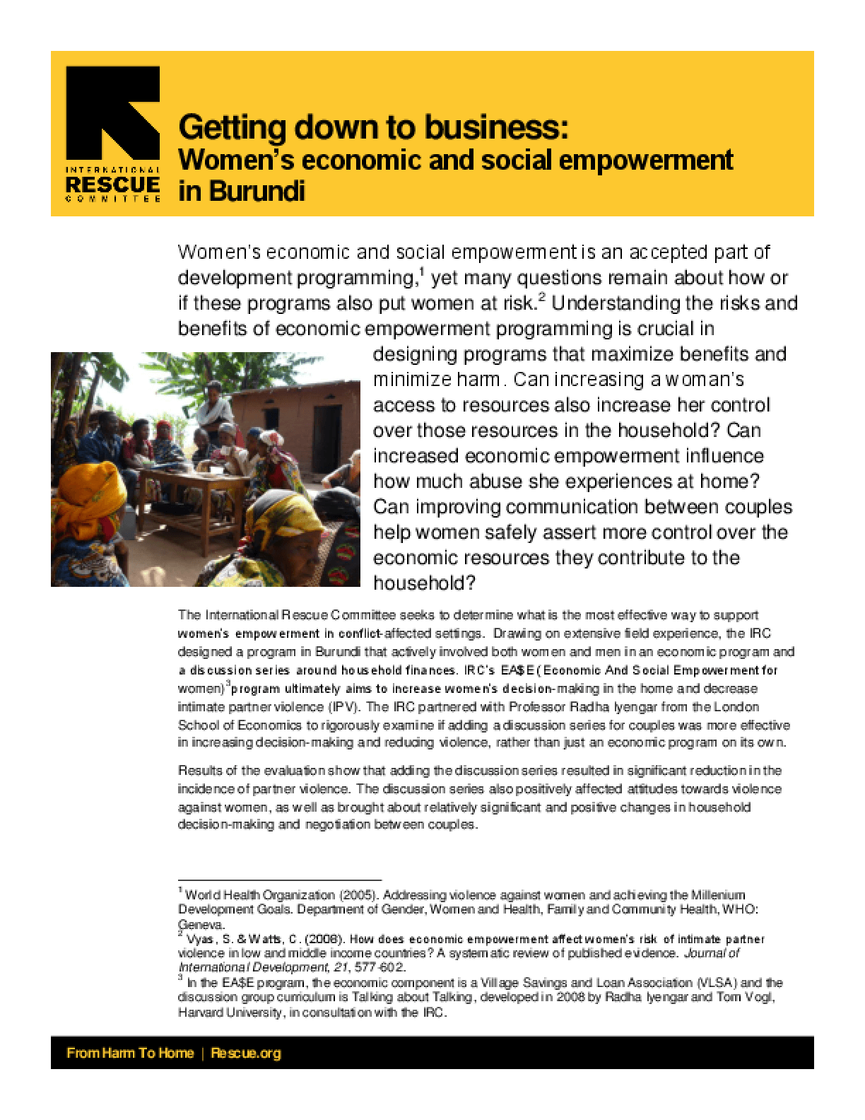 Getting Down to Business: Women's Economic and Social Empowerment in Burundi