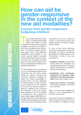 How Can Aid Be Gender Responsive in the Context of the New Aid Modalities? Lessons From Gender Responsive Budgeting Initiatives
