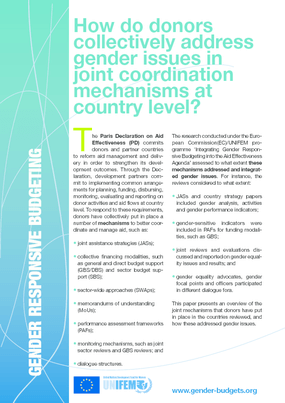 How Do Donors Collectively Address Gender Issues In Their Aid Management Practices At Country Level?