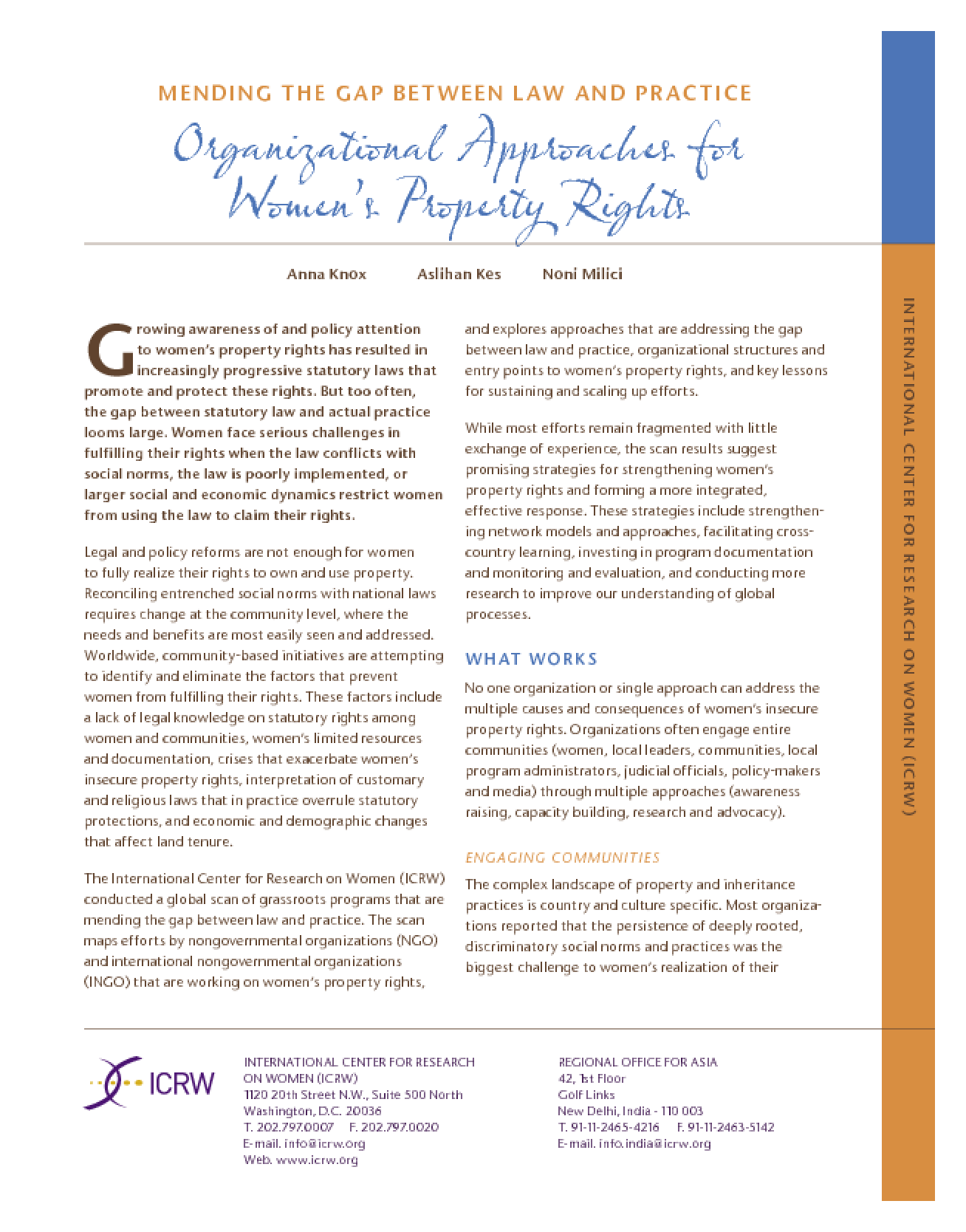 Mending the Gap Between Law and Practice, Organizational Approaches for Women's Property Rights