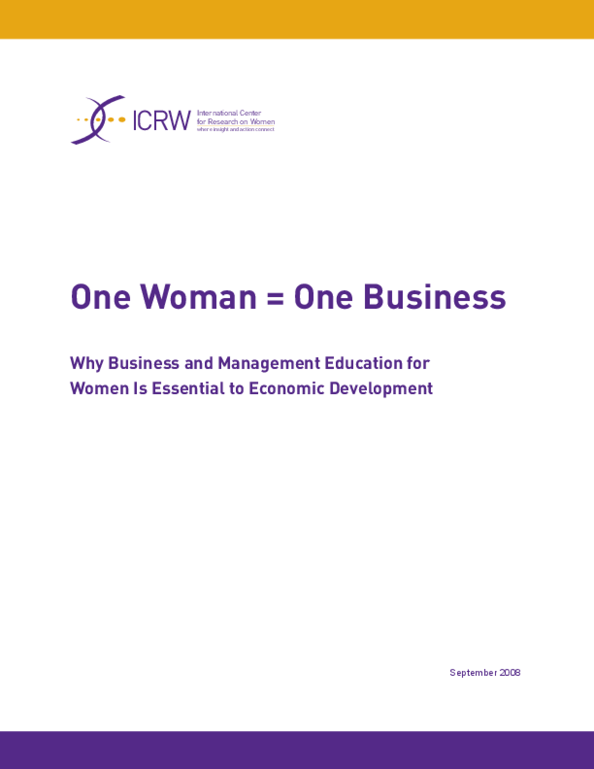One Woman = One Business: Why Business and Management Education for Women Is Essential to Economic Development