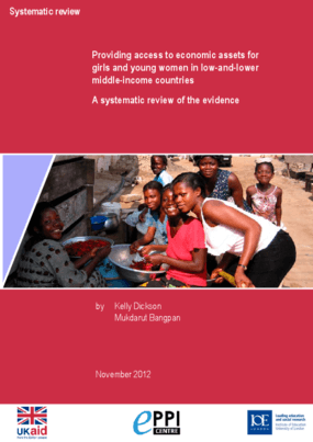 Providing access to economic assets for girls and young women in low-and-lower middle-income countries: A systematic review of the evidence