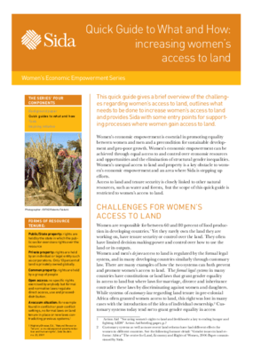 Quick Guide to What and How: increasing women's access to land