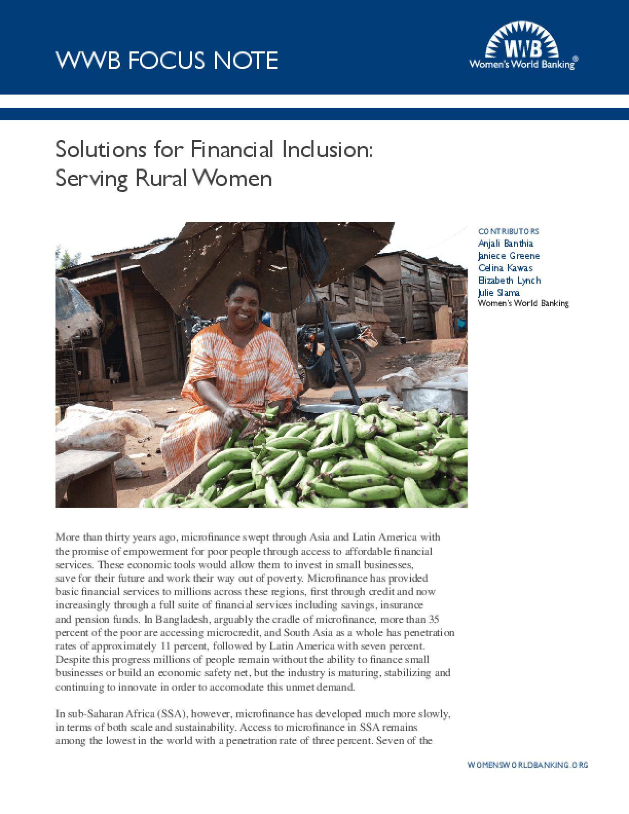Solutions for Financial Inclusion: Serving Rural Women