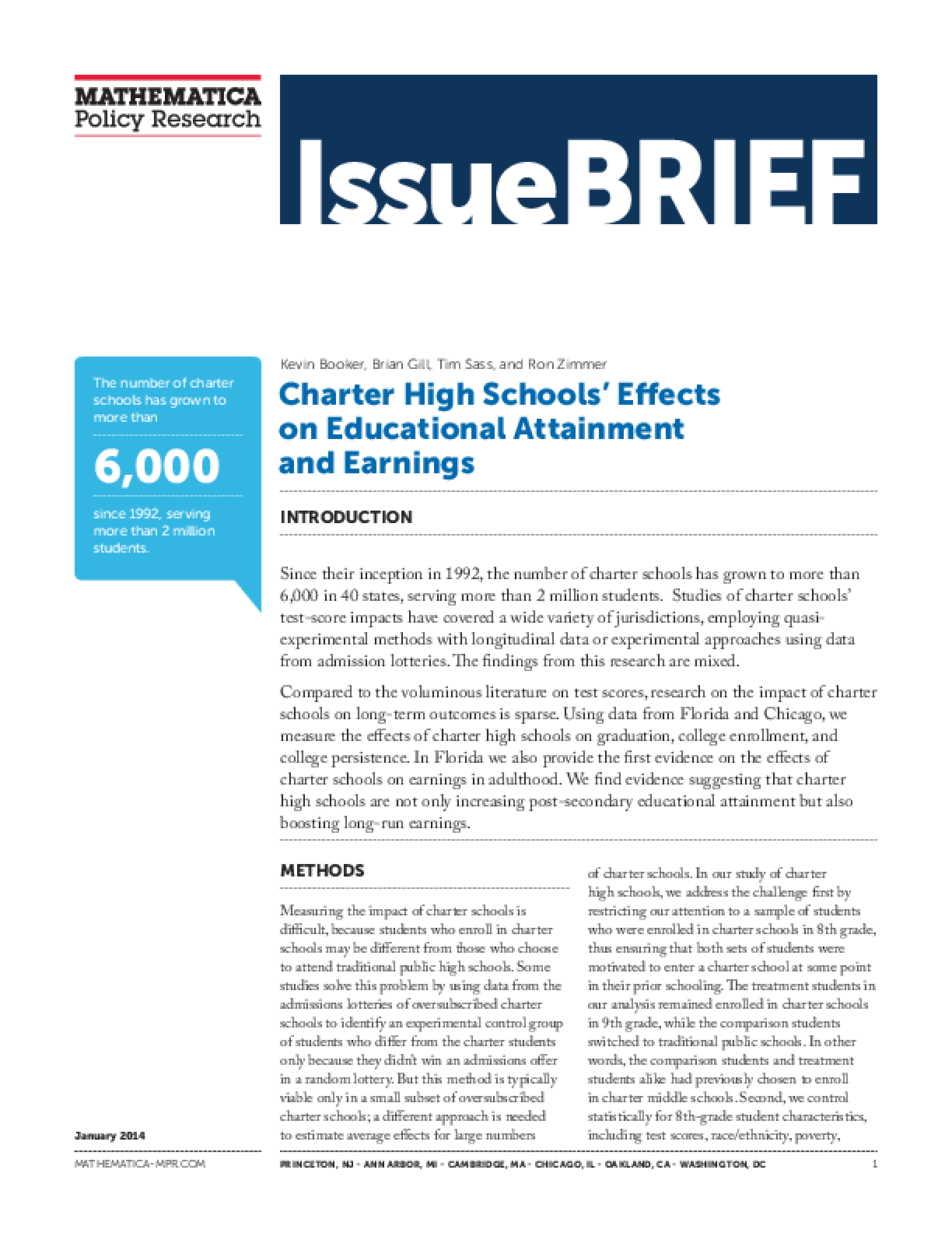 Charter High Schools' Effects on Educational Attainment and Earnings
