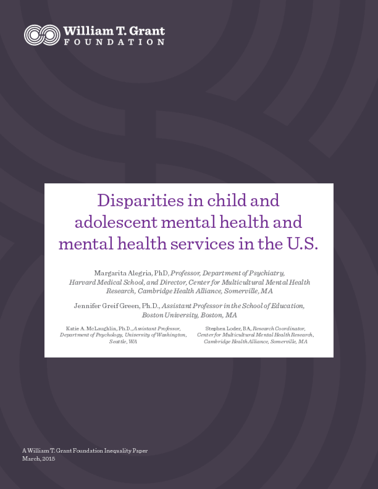 Disparities in Child and Adolescent Mental Health and Mental Health Services in the U.S.