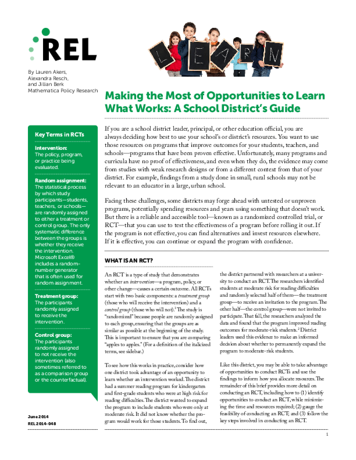 Making the Most of Opportunities to Learn What Works: A School District's Guide