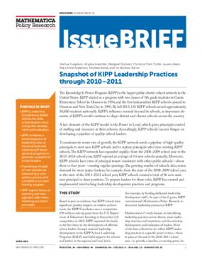 Snapshot of KIPP Leadership Practices through 2010 -- 2011