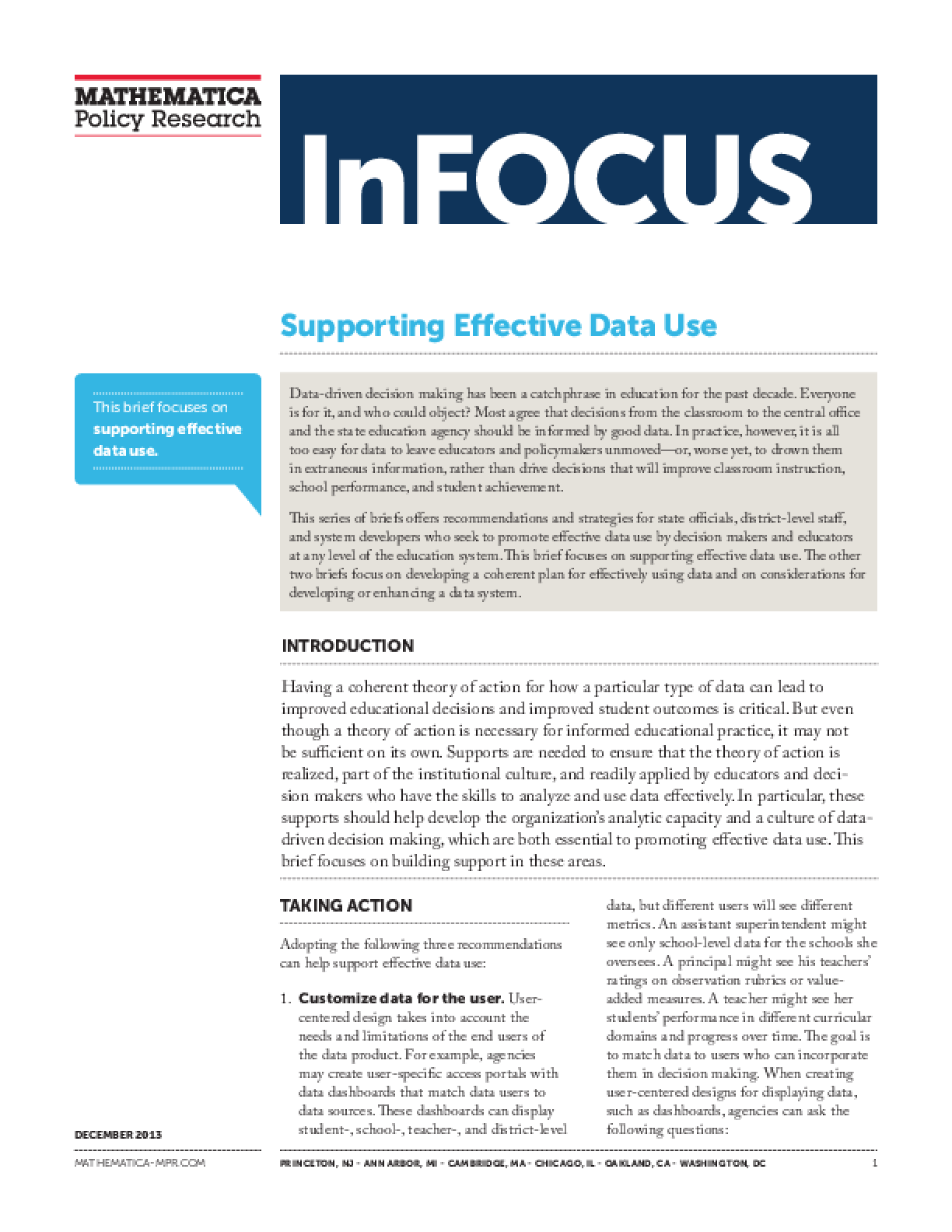 Supporting Effective Data Use