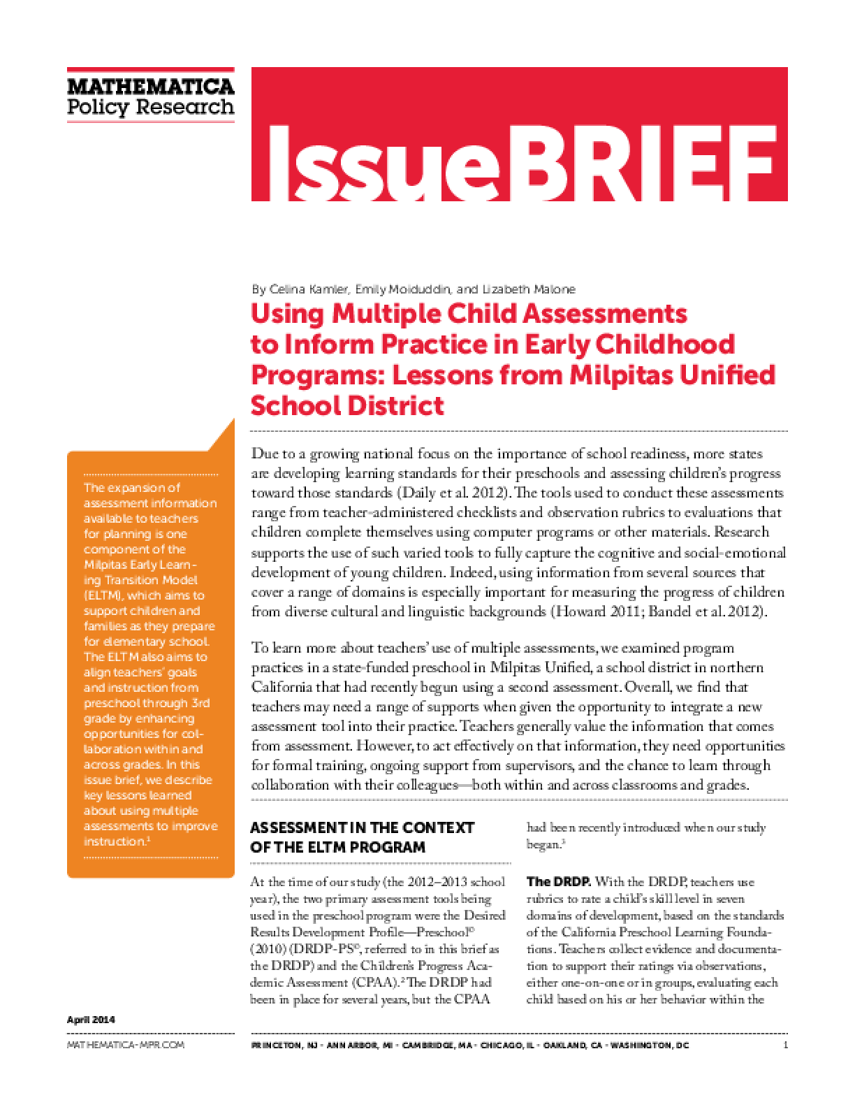 Using Multiple Child Assessments to Inform Practice in Early Childhood Programs: Lessons from Milpitas Unified School District