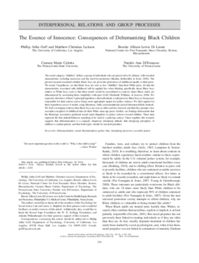 The Essence of Innocence: Consequences of Dehumanizing Black Children