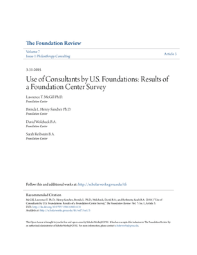 Use of Consultants by U.S. Foundations: Results of A Foundation Center Survey