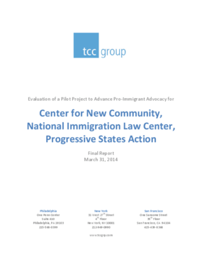 Evaluation of a Pilot Project to Advance Pro-Immigrant Advocacy for Center for New Community, National Immigration Law Center, Progressive States Action